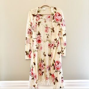 American Thread flower sweater long lacy cardigans